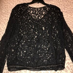 Tops - Laced long sleeve blouse
